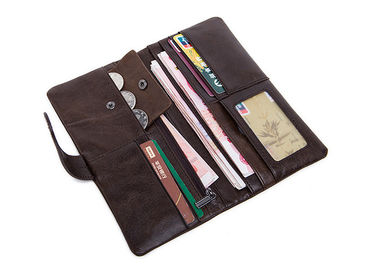China Brown Patent Leather Wallet With Zipper Pocket , Long Wallets For Men 892M Model supplier