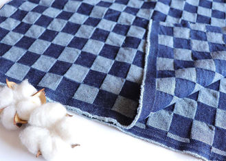 China 10oz Deep Blue Jacquard Checkerboard Fabric Washed Denim Blue Jean Material W068 supplier