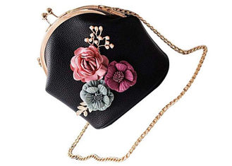 China Ladies 3D Flower Pink Shoulder Bags For Women PU Leather Amazon Handbags 563W supplier