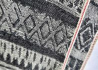 China Flower Embroidery Black Striped Twill Fabric Selvedge Denim 10.5oz For Mens Jeans W3702 factory