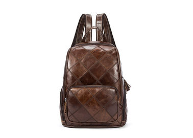 Genuine Leather Backpack Bags Vintage Diamond Shaped Polyester Lining For Ipad