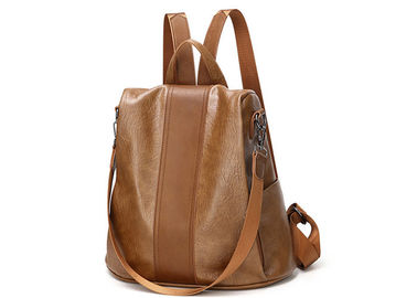 Big Capacity Soft Leather Backpack , Messenger Leather Backpacks For Girls